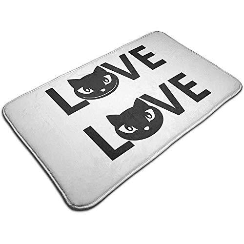 Liumt Cat Love Door Mat Alfombrilla de baño Decorativa Antideslizante Alfombra 40cm * 60cm