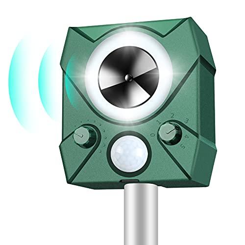 BeauFlw Repelente De Gatos,Ahuyentador Repelente Ultrasónico Para Animales,LED,Carga Solar y USB, Exterior, Detector de Gatos,Perros,Ratones