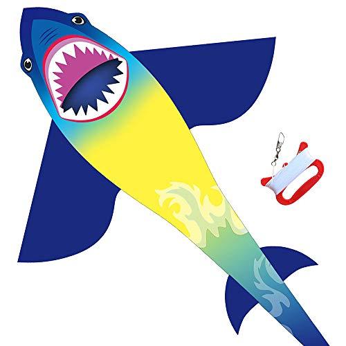 HONBO Shark Kite Drachen Flugdrachen, Easy Flyer Regenbogendrachen Bastelset für Erwachsene Leichtes Fliegen im Freien bei starkem