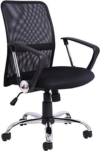 COLiJOL Office Essentials Silla de Oficina con Brazos, Silla de Escritorio de Oficina Ajustable para el Hogar con Giratorio Y Ruedas, Malla, Negro