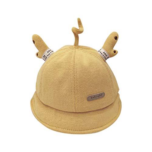 Sunnymi - Gorro cálido para bebé con diseño de cuernos para otoño e invierno amarillo Talla única
