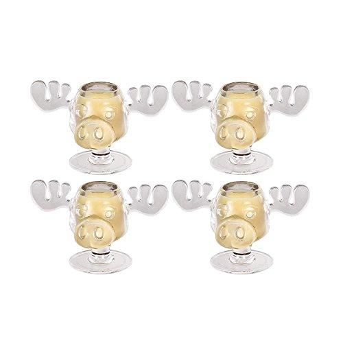 4er Set Mini Moose Mug Shot Version Schnaps und Likörglas inklusive Santa Pop Eye Schlüsselanhänger Mini Moose Mugs