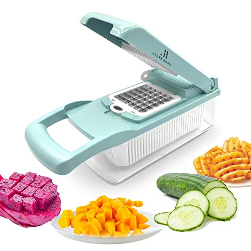 Asaph Home Vegetable Slicer Dicer - 12-in-1 Onion Cutter Mandoline Food Slicer and Chopper with Storage Container