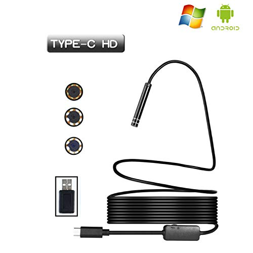 USB Endoscope,3Meter Rigid Hard Cable Type C Borescope Inspection Camera, 2.0 Megapixels HD Snake Camera for New Android Samsung Galaxy S8, S8 Plus, Google Pixel, Nexus 6p, Huawei V9 (9.84ft)