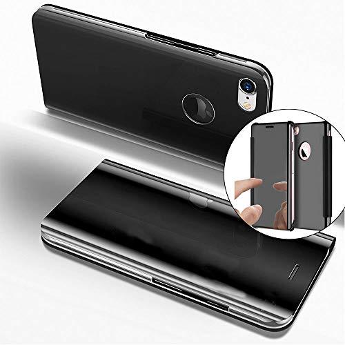 COTDINFOR iPhone 6S + Funda Espejo Ultra Slim Ligero Flip Funda Clear View Standing Cover Mirror PC + PU Cover Protectora Bumper Case para iPhone 6S Plus / 6 + Black Mirror PU MX.