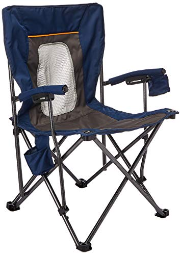 PORTAL Camping Chair Folding Portable Quad Mesh Back with Cup Holder Pocket and Hard Armrest Supports 300 Lbs Blue Regular PRFCH330BL