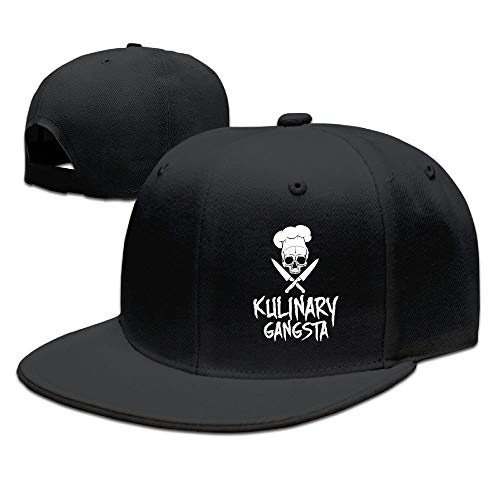Skull Chef Cooking Skull Snapback Hats for Men Cool Hip-hop Flat Bill Hats Fitted Hats for Men, Black, One Size