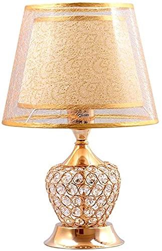 Rnwen Lámpara de Mesa de Dormitorio de Estilo Europeo Simple, decoración de Sala de Estar, lámpara de Noche, Interruptor de Llave, lámpara de Mesa de Cristal, 26 * 40 cm