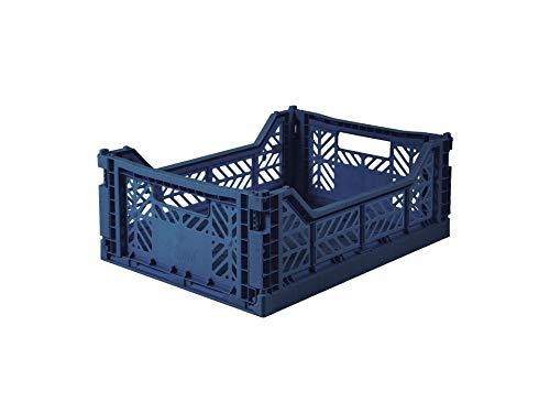 Caja plegable Ay-Kasa, caja plegable estable de plástico, apilable, Midi (40x30x14cm), azul marino