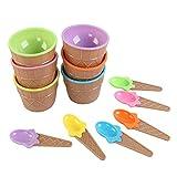 6 unids Niños Coloreado Helado Bowl + Cono Cuchara Cuenco Plástico Partido Niños Tart Estilo Postre Pequeño Cuenco Cocina Accesorio Regalos veganos ecológicos (Color : 1 set, Diameter : 9.8CM)