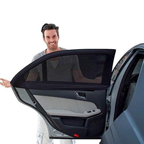 Tuoro Car Side Window Sun Shade - Car Sunshade Protector - Universal Fit Winow Slip On Stretchable Mesh Protective - Protect your kids and pets in the back seat from sun glare and heat - 2 Pack