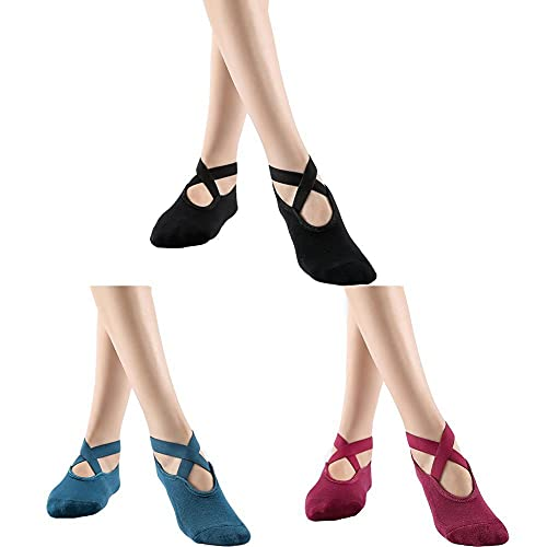 SOCKE 3 pares de calcetines antideslizantes para yoga, pilates y pilates, calcetines antideslizantes para yoga, yoga, barro, ballet, danza descalzo