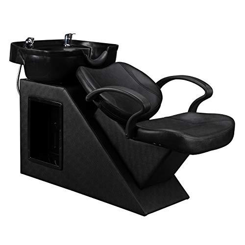 OmySalon Shampoo Barber Backwash Chair Unit Station for Salon, ABS Plastic Shampoo Bowl Sink & Reclining Back Support, for SPA Beauty Equipment, Black