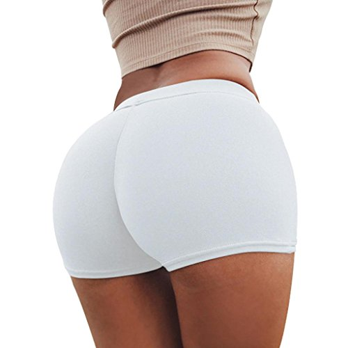 SHOBDW Pantalones de Verano Mujeres Shorts Deportivos Gimnasio de Moda Workout Waistband Skinny Yoga Short Pants (S, Blanco)