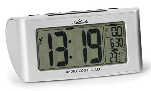 Atlanta radiografische wekker LCD digitale slaaptimer licht Snooze zilver - 1813-19