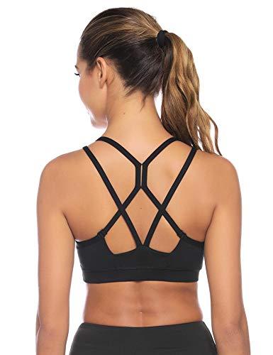Sykooria sportbeha voor dames Sneldrogende gevoerde beha Geen stalen ring met kruis terug ontwerp push-up bh sportbeha top voor yoga fitness