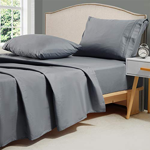Minoroty 1800 TC Twin Bed Sheets Set 3 Piece Soft Silky Microfiber Hotel Cooling Bamboo Alternative Sheets Breathable, Wrinkle, Fade Resistant Deep Pocket,Dark Grey