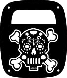 JeepTails Sugar Skull Crossbones Tail lamp Light Covers Compatible with Jeep Wrangler TJ and YJ - Black - Set of 2