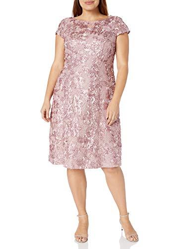 Alex Evenings Women's Plus Size Tea Length Dress with Rosette Detail, Rose Gold, 18W