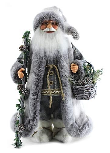 "Cuddly Woodland Soft & Fluffy Grey 16"" Inch Santa Claus Standing Figurine Figure Decoration 160015"