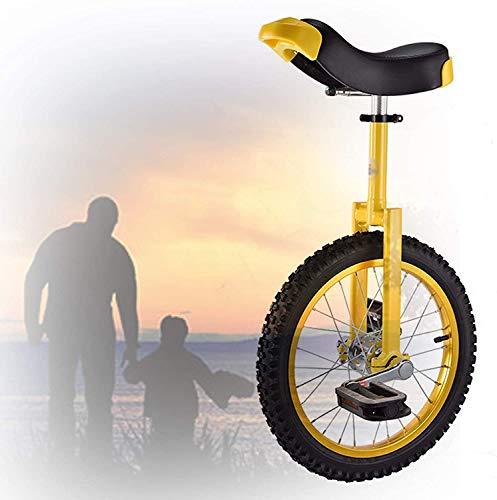 L&WB 16/18/20/24 Zoll Einrad, Höhenverstellbarer Rutschfester Butyl Mountain-Reifen Balance Übung Spaß Fitness for Erwachsene Kinder,Gelb,18 inch