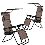 BestMassage Patio Chairs Lounge Chair Zero Gravity Chair 2 Pack Recliner W/Folding Canopy Shade and Cup Holder for Outdoor Funiture (Brown)