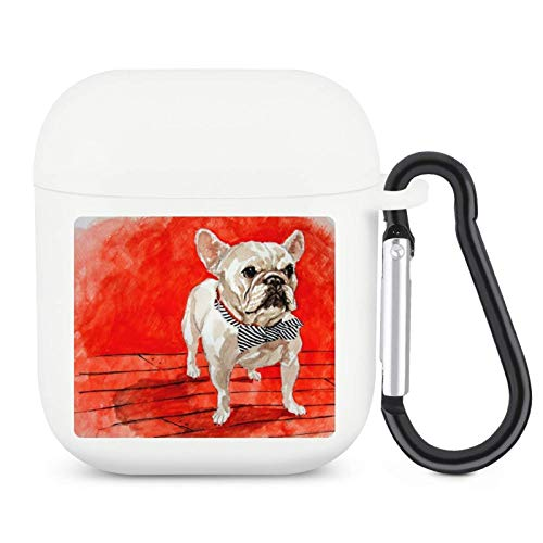 Animal French Bulldogs Silicone AirPods Case Cover with Keychain Compatible with Apple AirPods 1&2 Cute Designer Earphone Headphone Accessories Unisex White