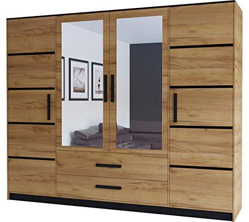 KRYSPOL Drehtürenschrank Malta 201 Garderobenschrank, Kleiderschrank mit 4 Türen, 2 Schubladen und 2 Spiegel, Modern Design (Eiche Kraft Gold/Eiche Kraft Gold + Schwarz)