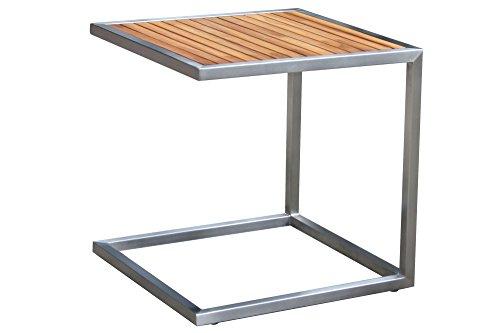 OUTFLEXX stilvoller Beistelltisch aus hochwertigem Edelstahl in Silber, Tischplatte aus Teak-Holz, ca. 45 x 45 cm, Kleiner Gartentisch, Kaffeetisch, Teetisch, Couchtisch wetterfest, zeitlos