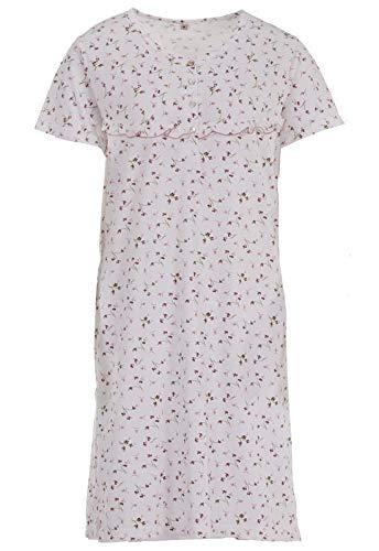 Zeitlos Nachthemd Volant Knöpfe Blumenprint Schlafshirt, Farbe:Off-White, Größe:L