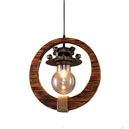 Retro Industriell Suspension en bois Anneau Design Gouttes de pluie Abat-jour en verre Lustre Éclairage intérieur Lampe de table Bar Suspension