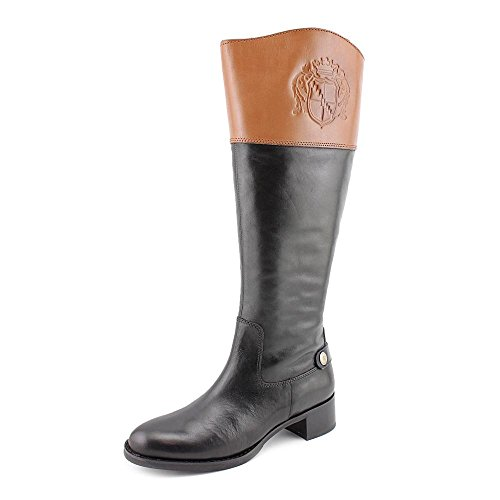 Franco Sarto Women's Chip Wide Calf Tall Riding Leather Boot, Black/Bnana Bread, 7.5M