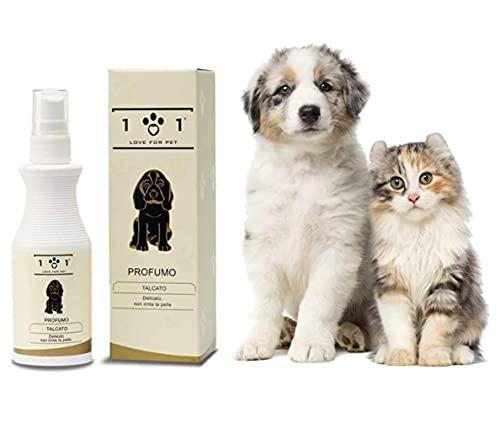Perfume Natural para Perros y Gatos – Colonia Spray, Fragancia de Talco – Desodorante y Corrector de olor de mascotas – No irrita la piel y las mucosas – Linea 101, 100 ml