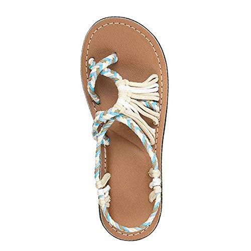 Faxiang - Sandali piatti da donna in corda di canapa, sandali estivi alla moda romana da spiaggia