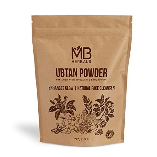 Ubtan Powder 227 Gram (8 oz)   Enriched with Sandalwood Turmeric White Turmeric Chick Peas & Barley Powder   MB Herbals Ubtan Face Pack Powder – Traditional Indian Ayurvedic Face Wash for Beautiful & Youthful Skin