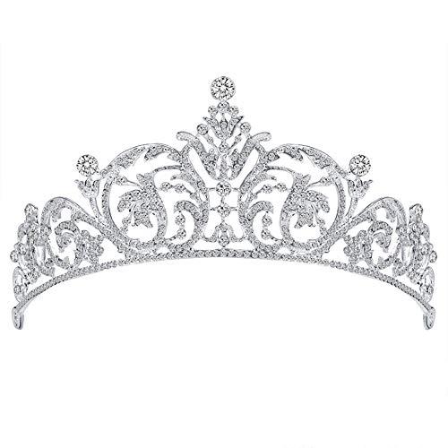 FEILEC Diadema de corona de moda, corona hueca, tocado para novia, tocado de alta gama, accesorio para el pelo, 15,8 x 6,4 cm (diferentes estilos)