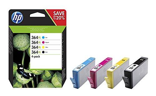 HP 364XL - Pack de ahorro de 4 cartuchos de tinta Original HP 364 XL de álta capacidad Negro, Cian, Magenta, Amarillo para HP DeskJet, HP OfficeJet y HP PhotoSmart