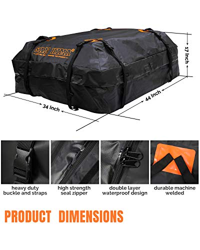 SANHIMA Car Roof Bag Cargo Carrier - 15 cu. ft. Waterproof Rooftop Bag, Travel Storage Luggage Bag Soft-Shell Fits All Cars, Vans & SUV for All Vehicle with/ Without Rack