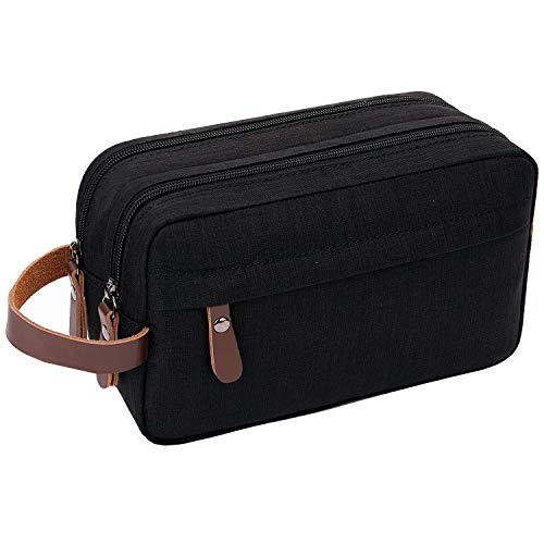 Mens Toiletry Bag Dopp Kit Travel Bathroom Bag Waterproof Shaving Shower Cosmetic Organizer (Black)