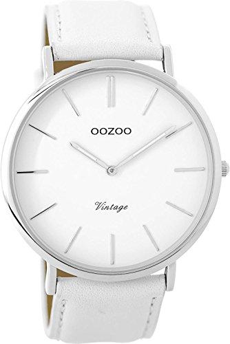 Oozoo Vintage Herrenuhr Lederband 44 MM Weiss/Weiss C9310