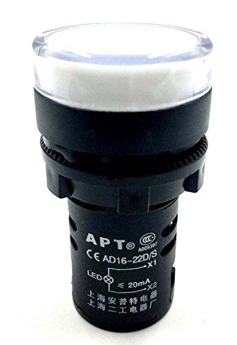 Woljay Voyant Indication Panneau Pilote LED Blanc 22mm LED Pilote AC 220V 20mA Indicateur de Lampe de signalisation 2 pièces