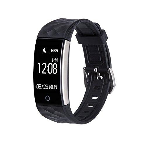 AGPTEK Pulsera Actividad, Bluetooth Pulsera Inteligente con Pantalla táctil, Monitor de Dormir, Podómetro, Calorías, Impermeable, Control de música, Compatible con iPhone y Android Smartphone