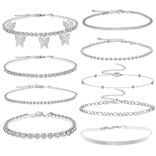 RechicGu Silver 9 Pieces Ankle Bracelets Butterfly Rhinestone Tennis Anklets Charm Cuff Bangle Foot Jewelry Chain Adjustable Boho Summer Beach Anklet for Women Girl
