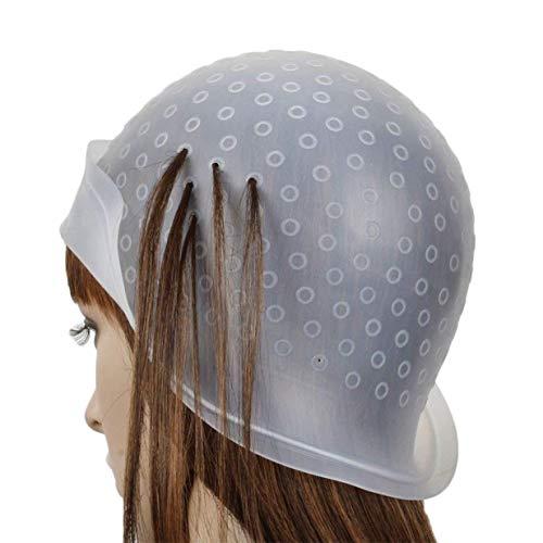 Alivier Silikon-Hervorhebung Kappe wiederverwendbaren Salon Haarfärbung Hut mit Metall Haar Haken für das Färben von Haaren