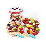 PBTRM Cortar Frutas Verduras Juguete, Cocina Imitación Juguetes Comida Madera Cocinas Juguete para Niños Cumpleaños Infantiles,28 Pieces