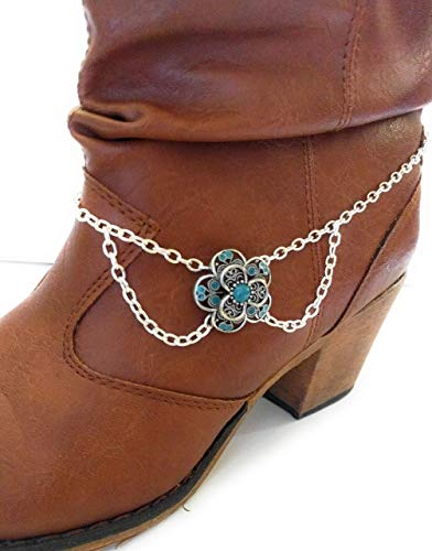 Turquoise Filigree Lace Flower Draped Chain Boot Bracelet Adjustable Size 15 Inch