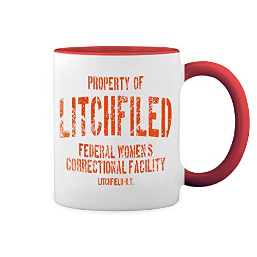 Litchfield Prison Inspired Orange Is The New Black Blanco Taza Aro y Mango Con Rojo Mug