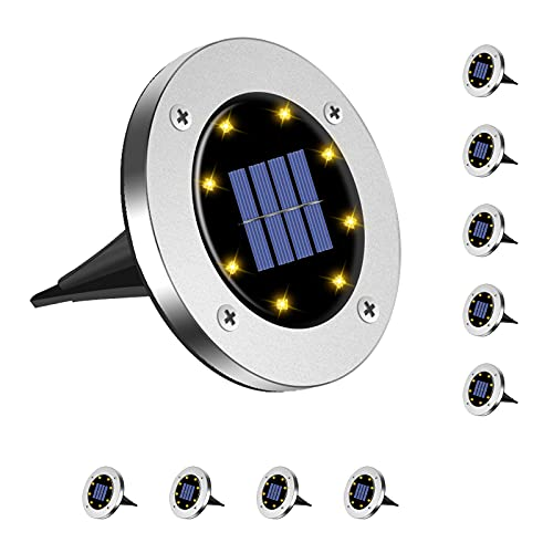 Magriaid Solar Ground Lights 8 LED Solar Outdoor Lights, Waterproof lighting, suitable for gardens, courtyards, walkways, lawns and driveway decoration. (10pcs)