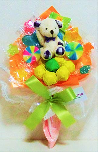 キャンディーブーケ 手持ちSサイズ シロクマさん(パープル)発表会 花束 (オレンジ)