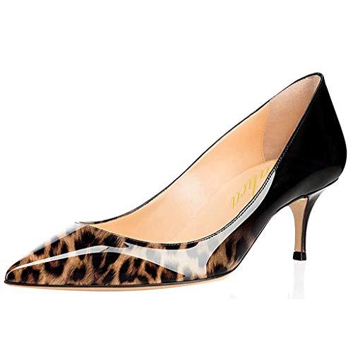Scarpe décolleté da donna in pizzo laccato, eleganti e comodi., (Nero leopardato), 38 EU